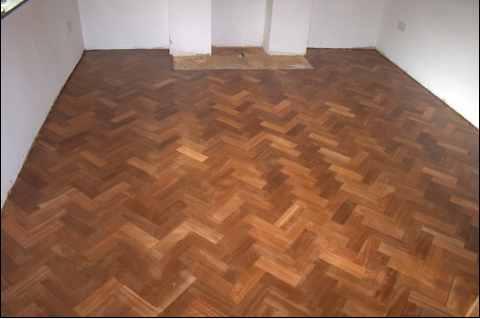 Mahogany parquet floor, sanded to perfection