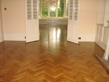 Oak herringbone floor installed by improver for RC Bacon