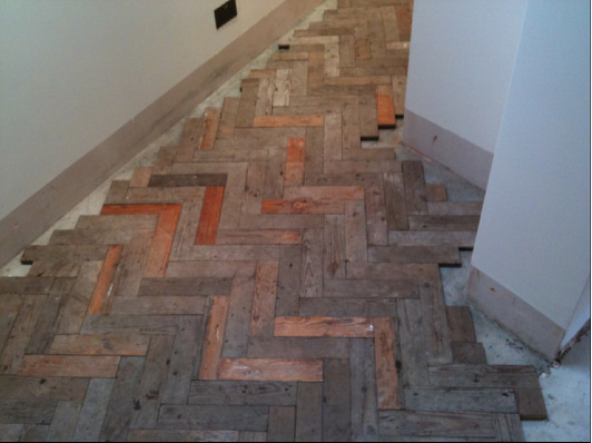 Pitch Pine reclaimed from same house in herringbone pattern