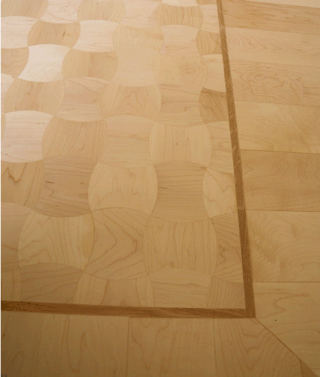 The finished result in detail: Convex and Concave Maple Design Parquet Pattern