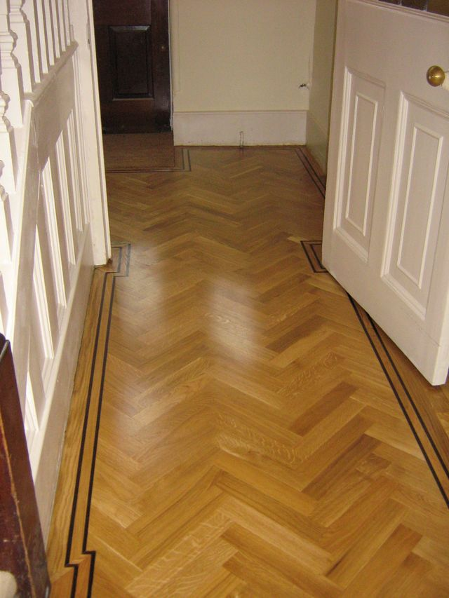 Oak Herringbone with tramline